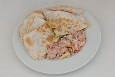 Cheesy quesadillas with crunchy salad