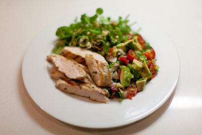 Chicken salad with chunky guacamole
