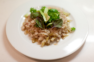 Crab risotto with lemon, herbs and fennel