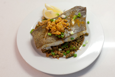 Curried sea bass with coconut rice