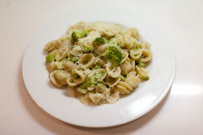 Orecchiette with broccoli, chilli and pecorino