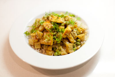 Paneer, potato and pea curry