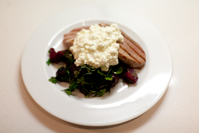 Grilled steak with roasted beetroots and cottage cheese
