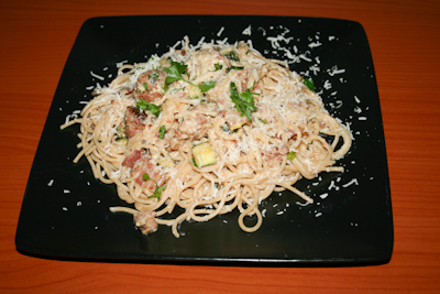 Recipe #47 - Sausage and courgette carbonara