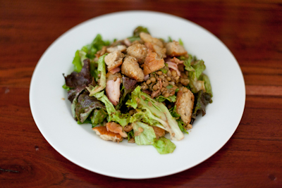 Warm bacon and lentil salad with crispy croutons