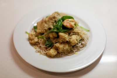 Asian seafood curry with noodles