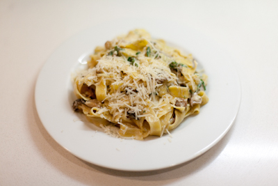 Recipe #45 - Pappardelle with mixed mushrooms and mozzarella