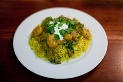 Prawn korma with pilau rice