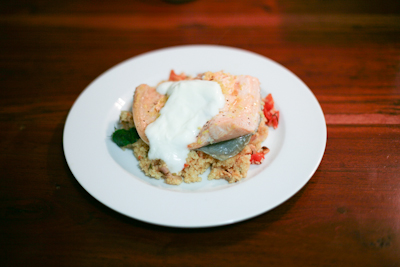 Steamed salmon with tomato basil couscous