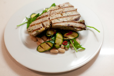 Tuna, courgettes and beans
