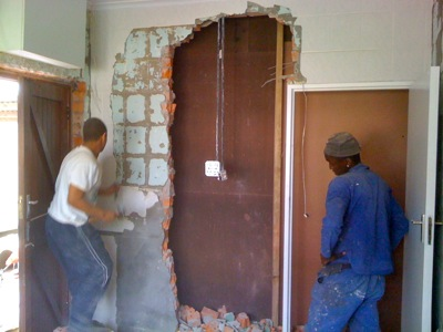 Wall being removed
